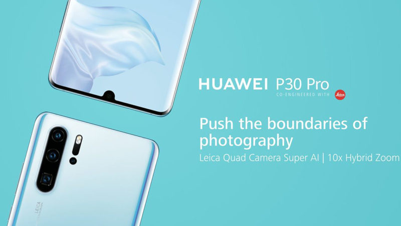 Imagem promocional mostra Huawei P30 Pro de frente e de costas