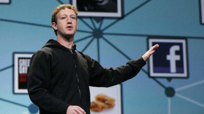 CEO do Facebook, Mark Zuckerberg, palestrando