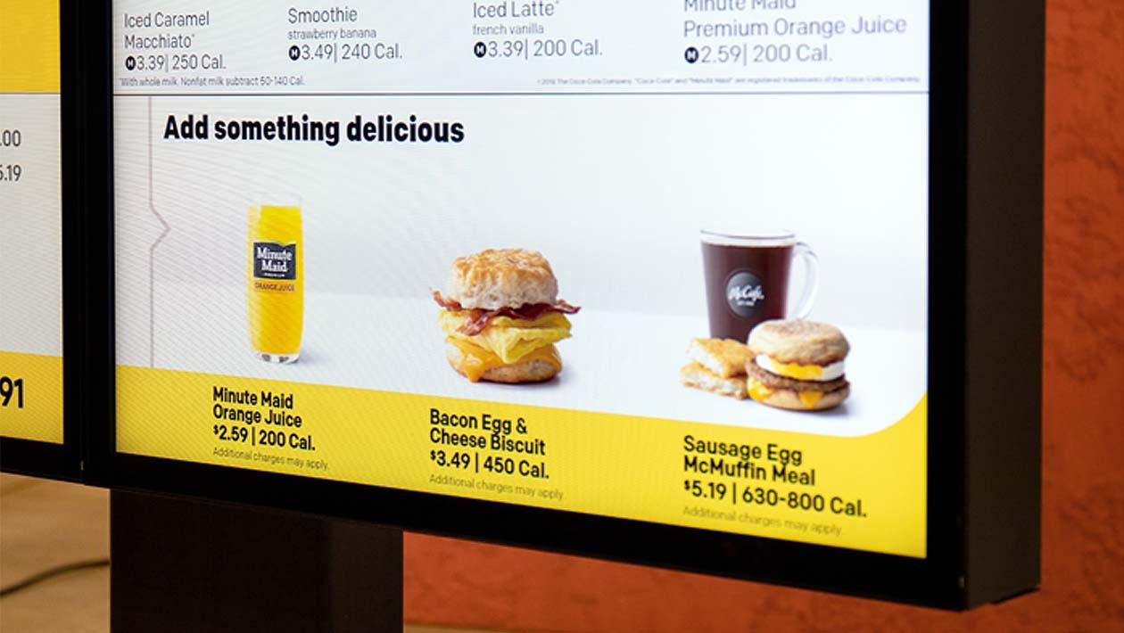 Painel mostra sugestões de itens a serem adicionados no pedido do McDonald's