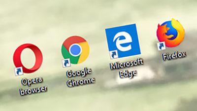 Ícones dos quatro principais navegadores