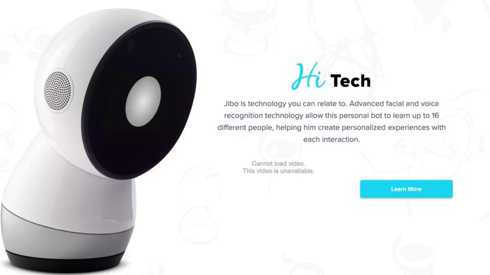 Captura de tela de página do robô social Jibo