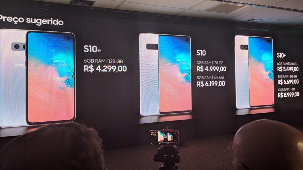 Tabela de preços do Galaxy S10 no Brasil