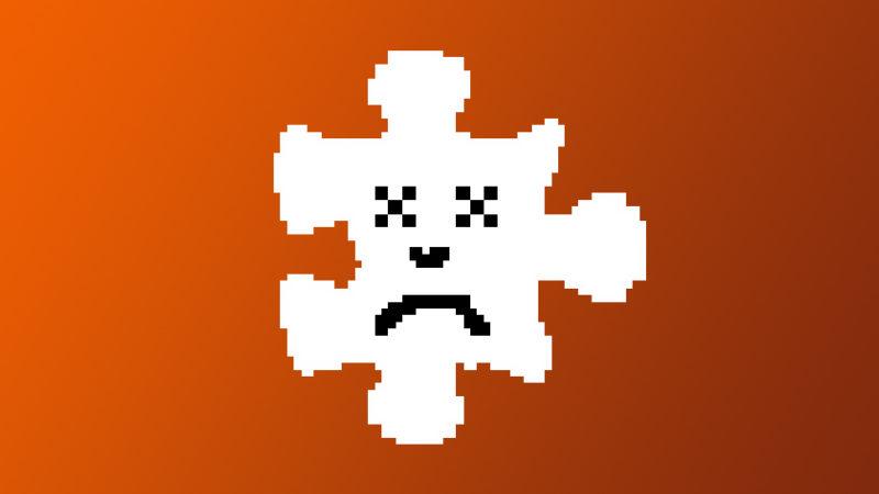 ilustração de peça de quebra-cabeça com uma carinha triste, típica de mensagens de erro de carregamento em navegadores