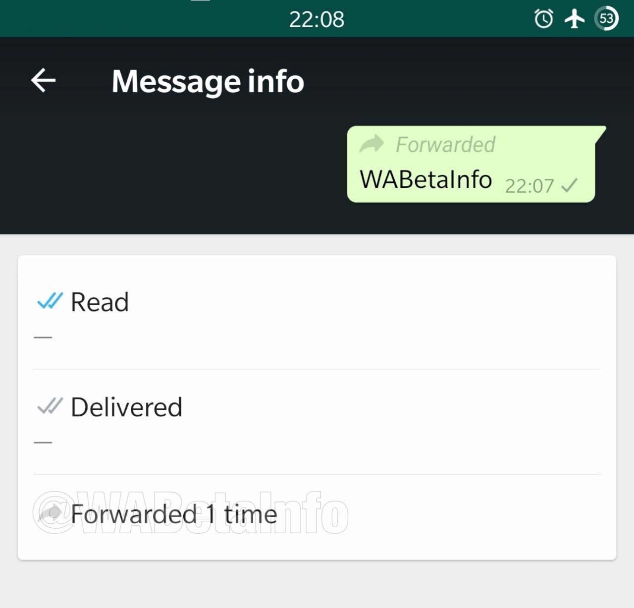 WhatsApp mostra encaminhamento em menu de informações de mensagem