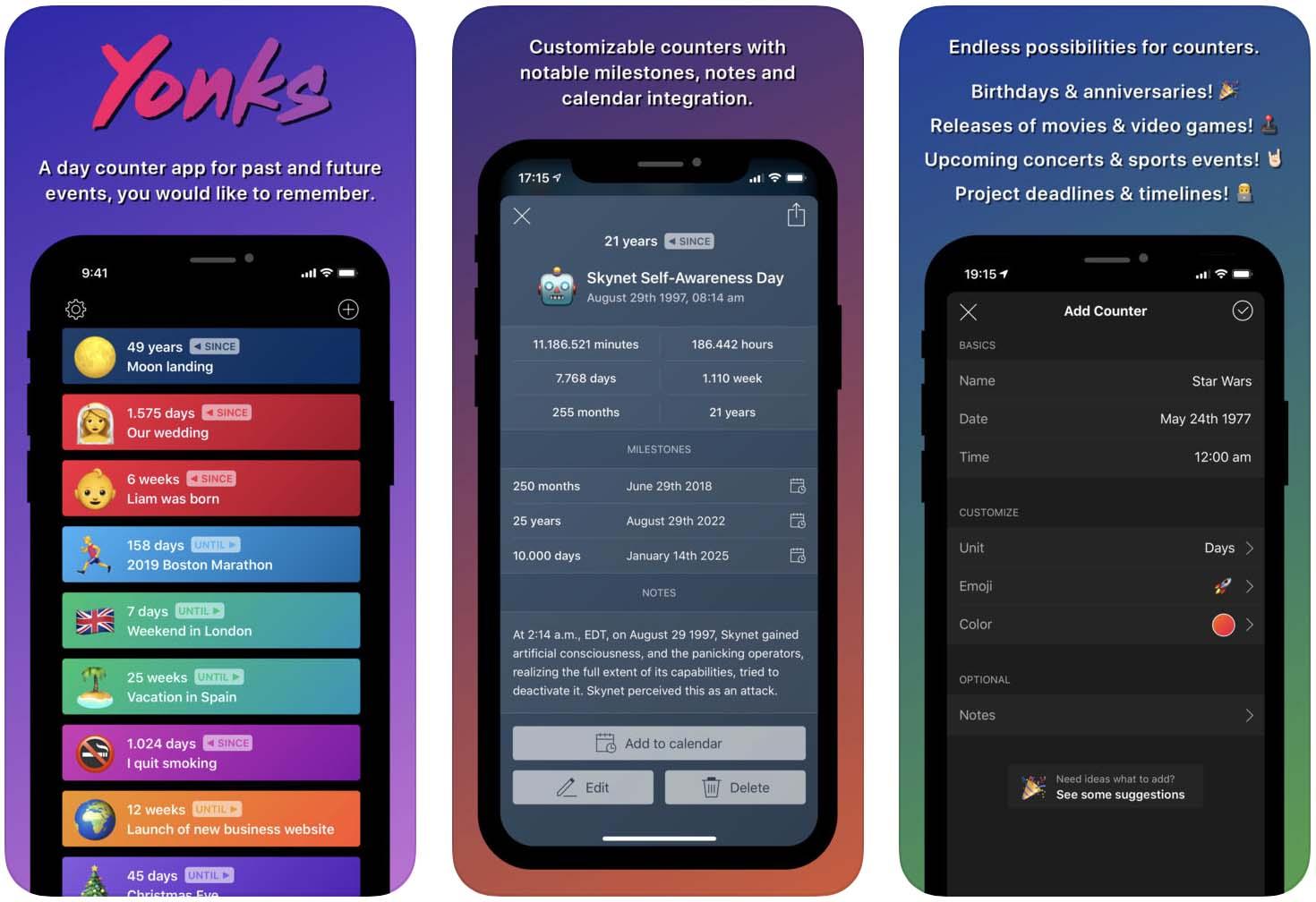 Telas do aplicativo Yonks