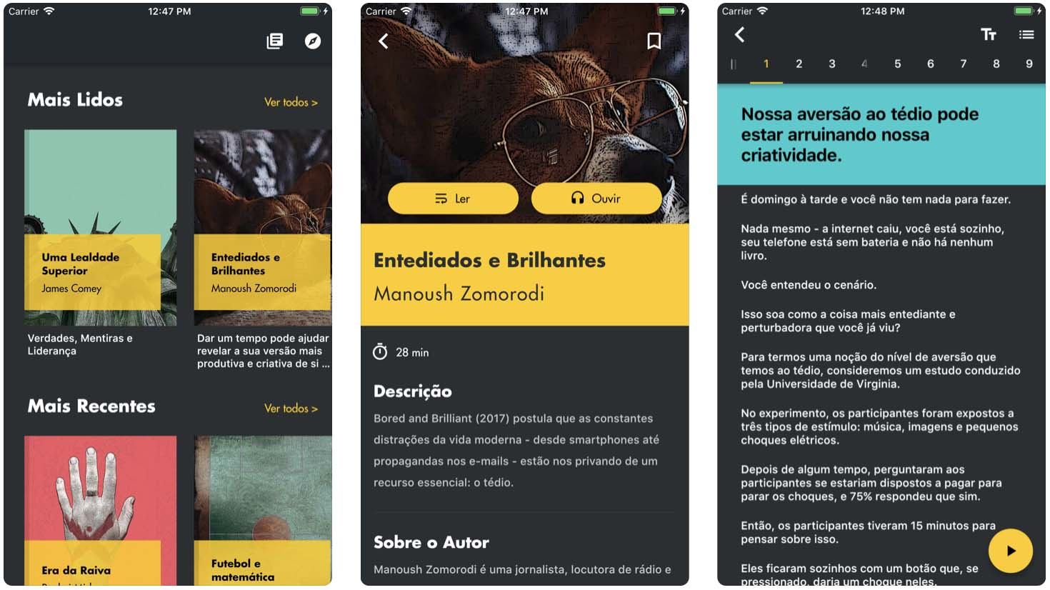 Telas do aplicativo Esens, para iOS