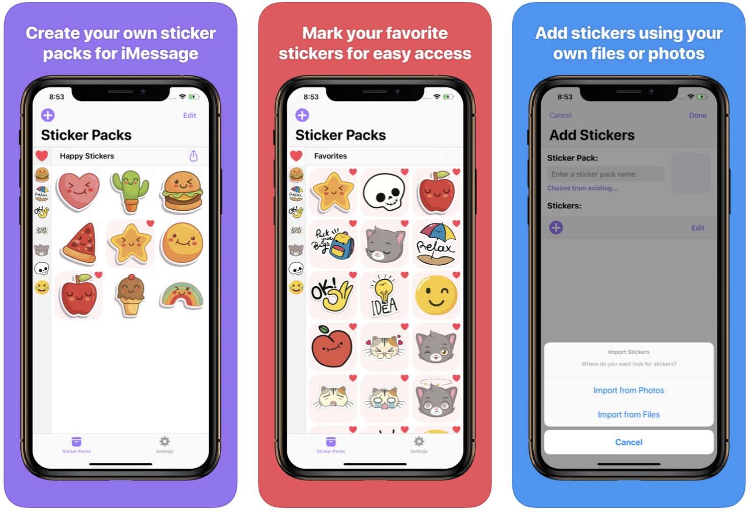 Telas do aplicativo Sticker Stash para iOS