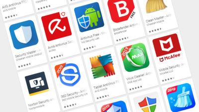 Loja Google Play exibe vários apps antivírus