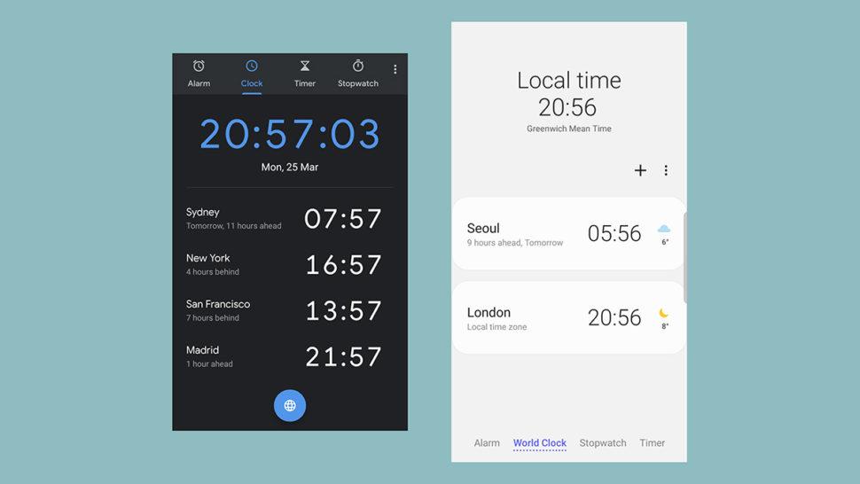 App de relógio no Android puro x Samsung One UI