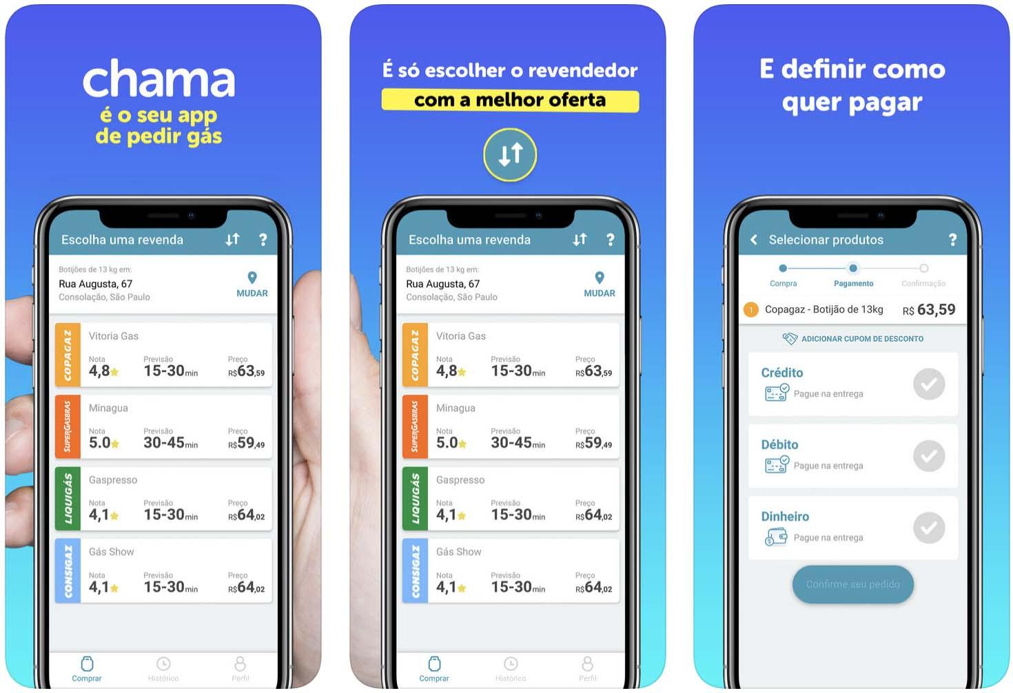 Telas do aplicativo Chama, para iOS