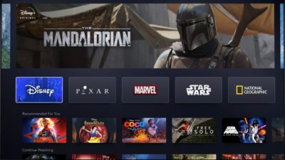 Página inicial da plataforma de streaming Disney+