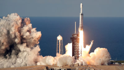 Lançamento do foguete Falcon Heavy, da SpaceX, em abril de 2019