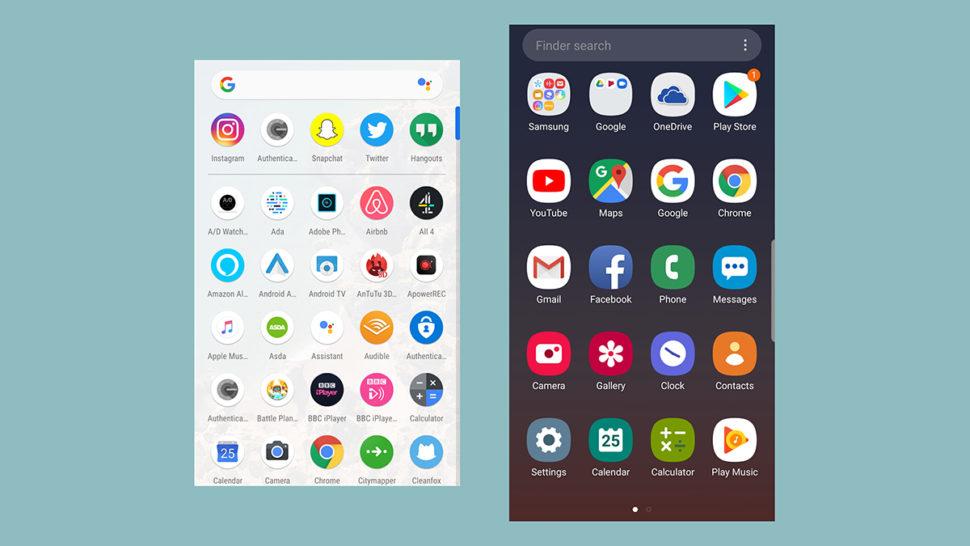 Gaveta de aplicativos: Android puro e Samsung One UI