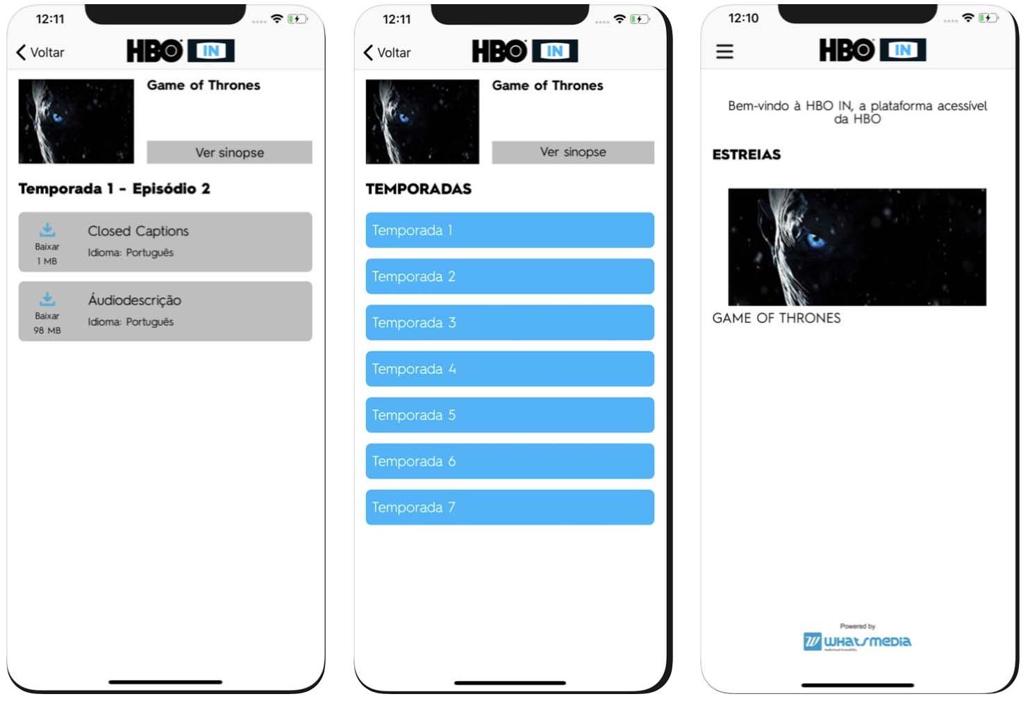 Telas do aplicativo de acessibilidade HBO IN para iOS