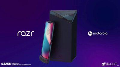 Imagem promocional vazada do Motorola Razr com tela dobrável