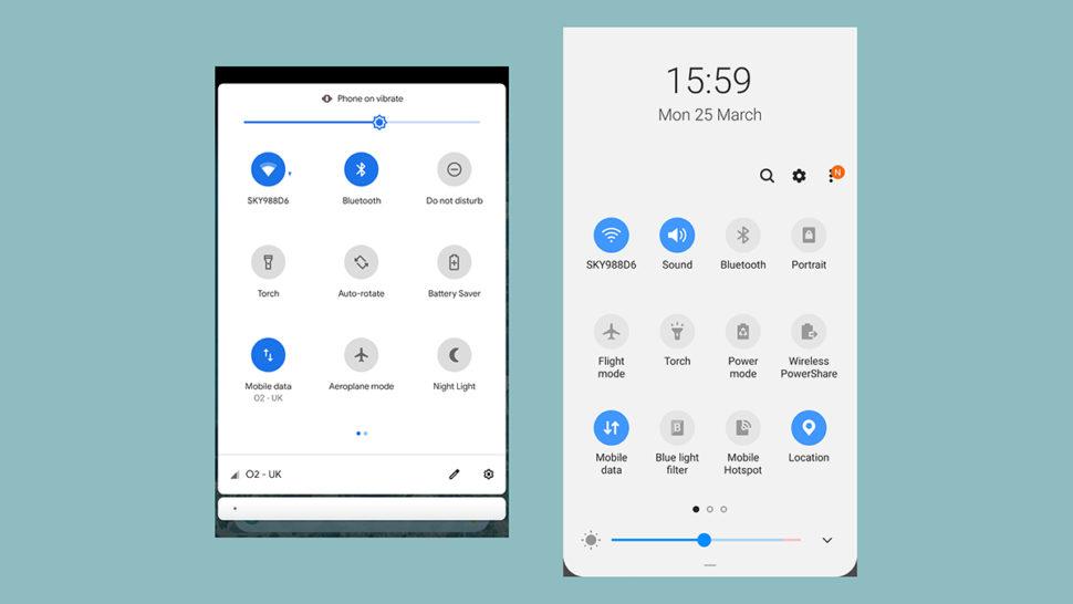 Central de controle do Android Puro vs Samsung One UI