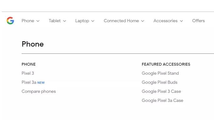 Captura de tela mostrando o Pixel 3a em página do Google, que já saiu do ar  - pixel3a - Parece que o Google não liga muito para segredo e confirmou a linha de smartphones acessíveis Pixel 3a