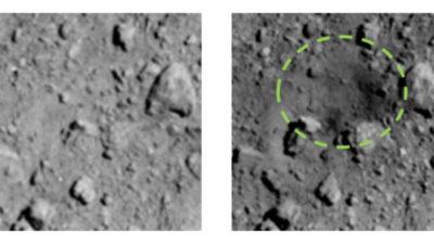 Antes e depois da cratera feita no asteroide Ryugu