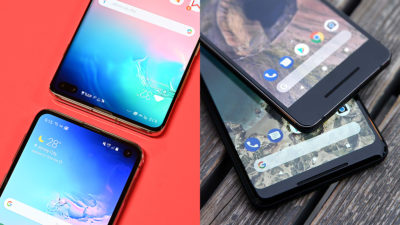 Imagem da interface Samsung One UI no Galaxy S10 e de smartphones Pixel 2