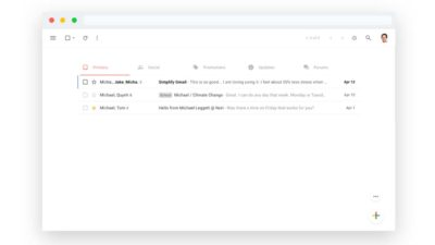 Visual do Gmail com a extensão Simplify