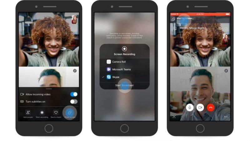 Telas do Skype mostram função de compartilhar tela