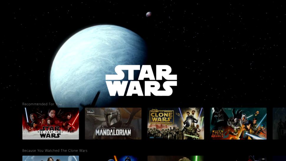 Tela temática de Star Wars no Disney+