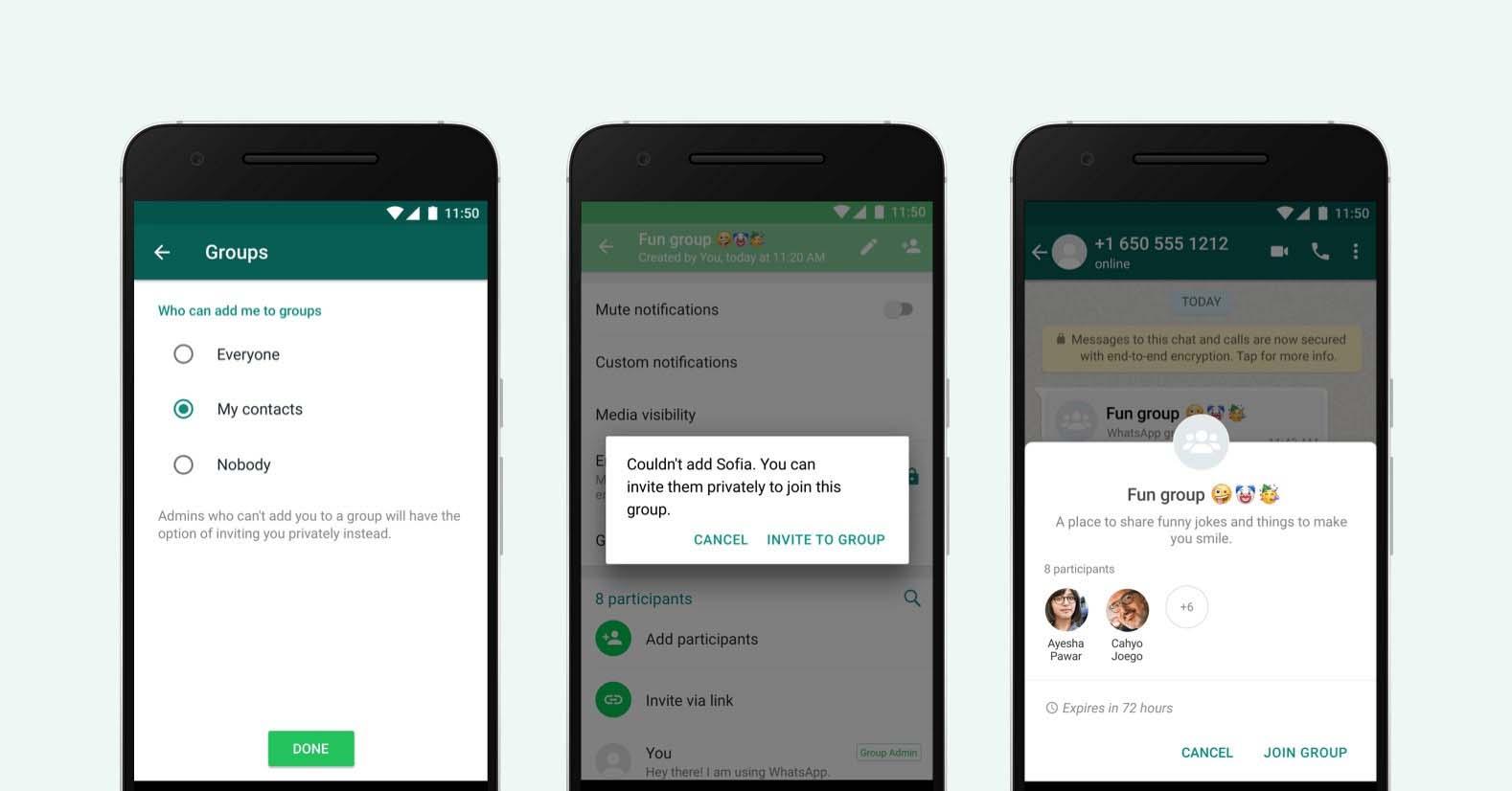Telas do WhatsApp mostram função de convite para entrar em grupos