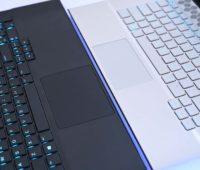 Detalhes dos teclados e touchpads dos Alienware m15 e m17.