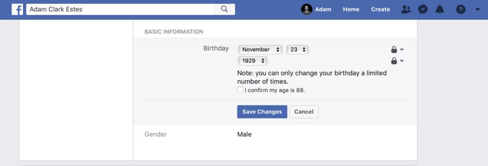 Área de aniversário do Facebook
