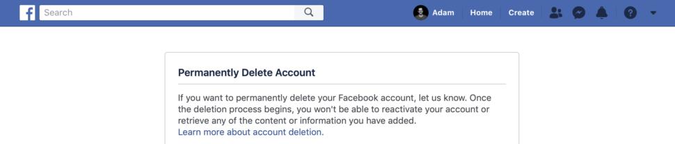 Página para apagar o Facebook