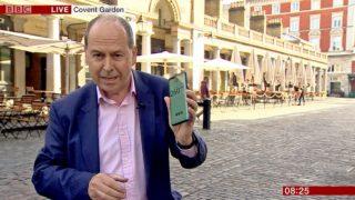Repórter da BBC Rory Cellan-Jones durante transmissão ao vivo via 5G