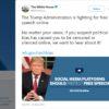 """Tuíte do perfil da Casa Branca diz """"A Administração Trump está lutando pela liberdade de expressão online. Não importa os seus posicionamentos, se você suspeita que um viés político causou sua censura ou silenciamento online, queremos ouvi-lo!"""""""