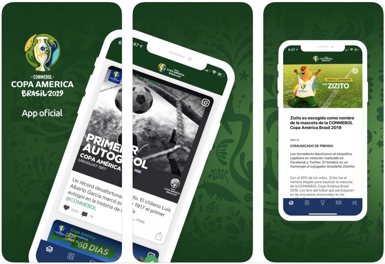 Telas do aplicativo Copa América para iOS