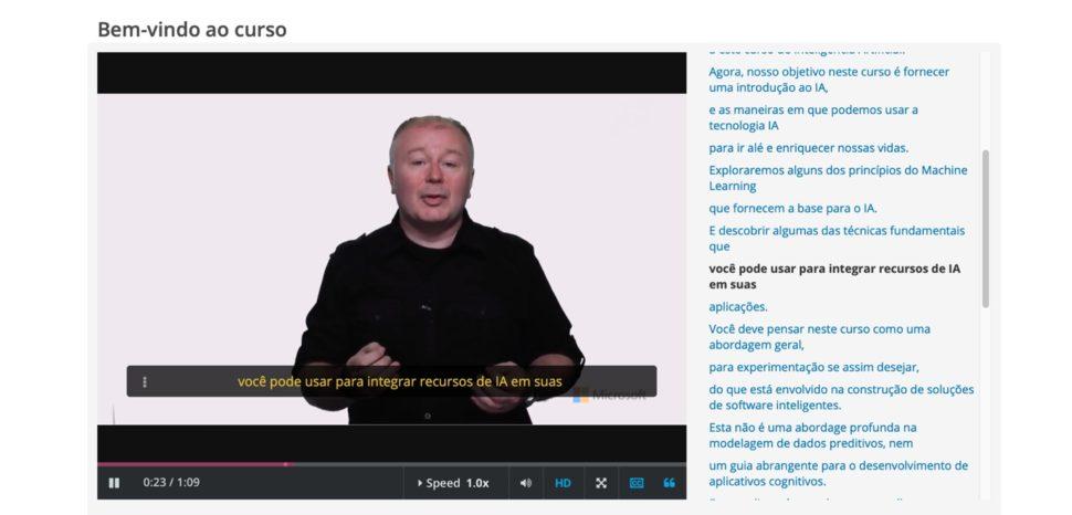 Captura de tela de curso de Microsoft sobre inteligência artificial