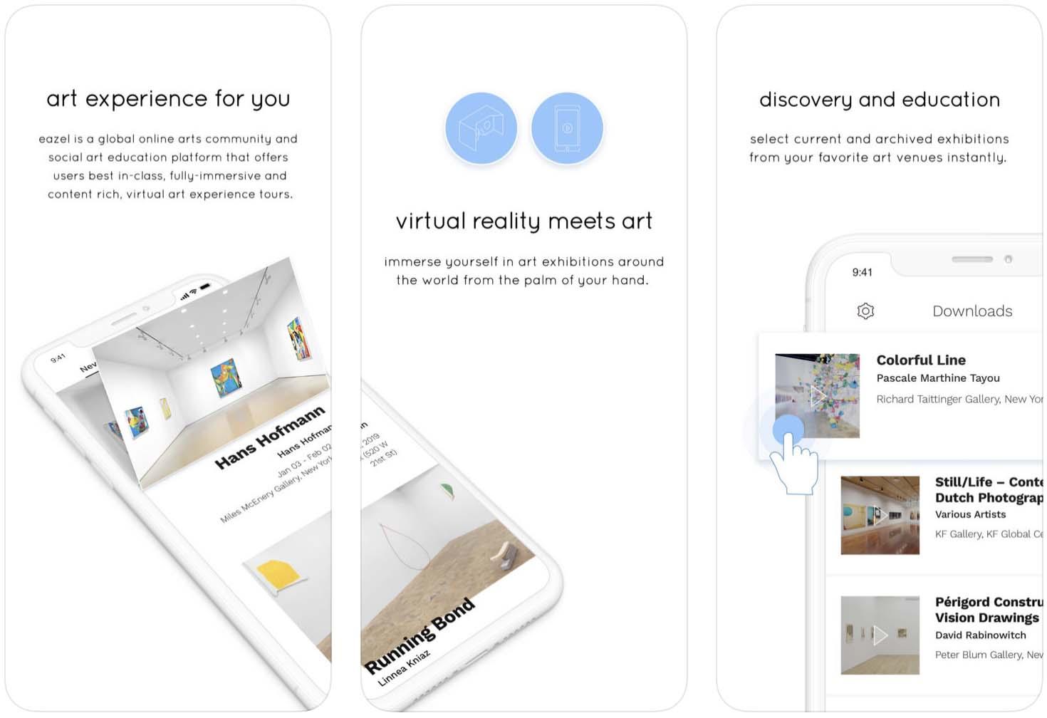 Telas do aplicativo Eazel para iOS