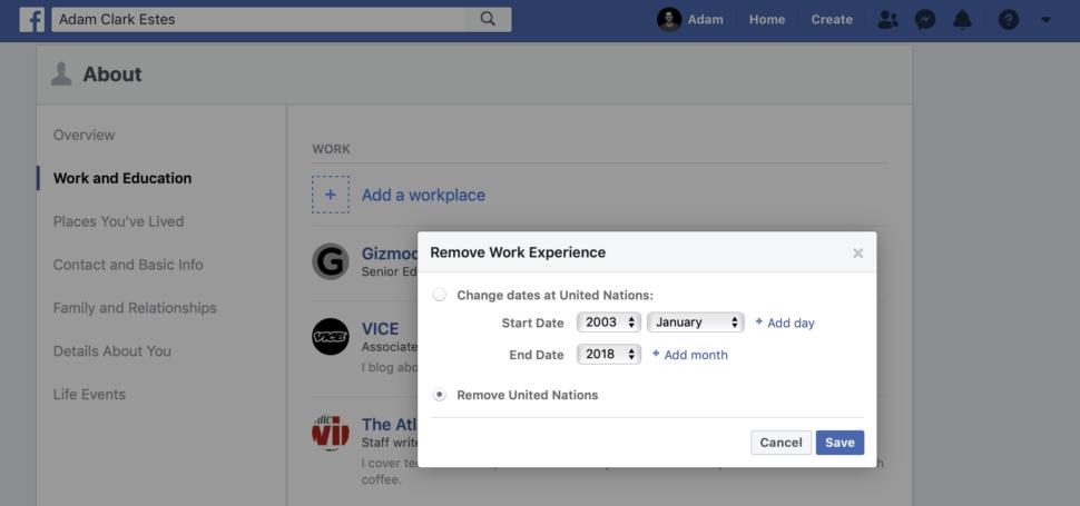 Área do Facebook com experiência de trabalhos