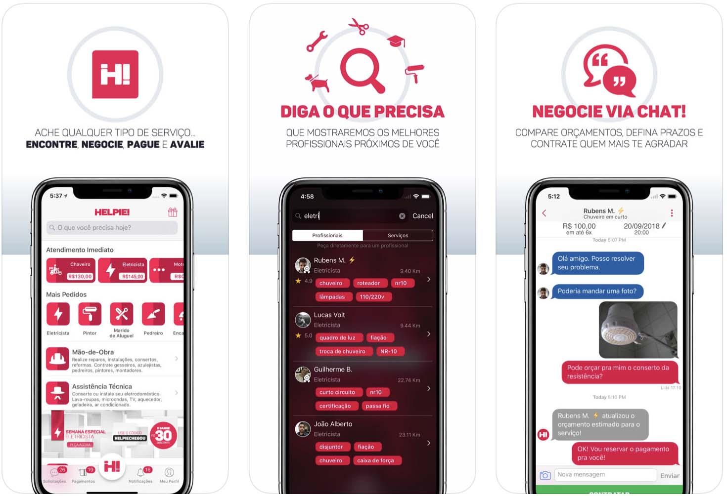 Telas do aplicativo Helpie, para iOS