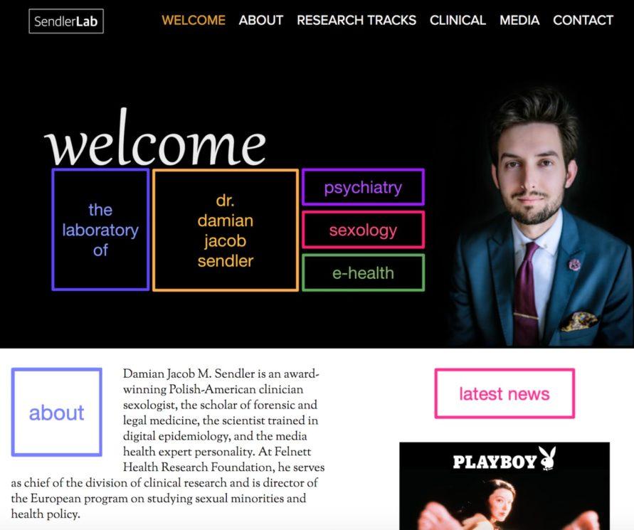 Página inicial do site do Damian Sandler