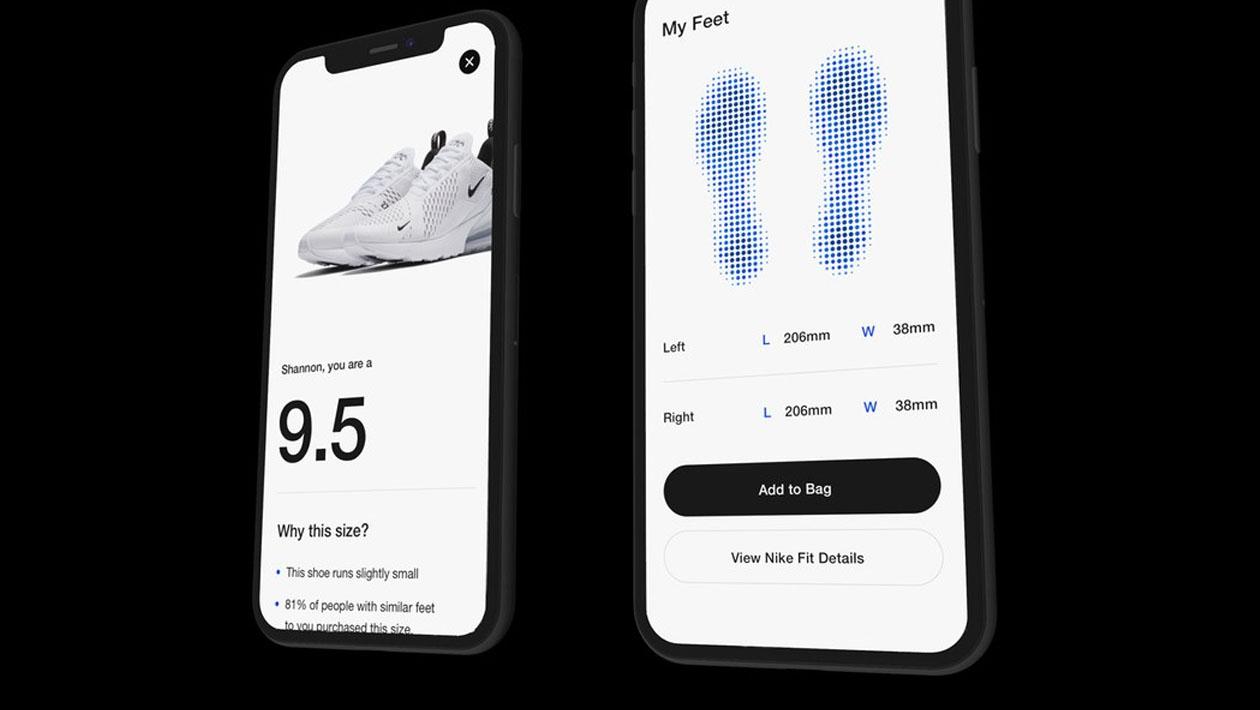Telas do app da Nike mostram tamanho ideal dos tênis de acordo com medição via AR