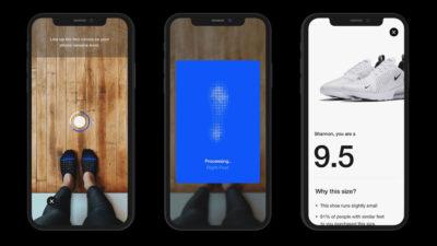 Telas do aplicativo da Nike mostram função de realidade aumentada para medir seus pés