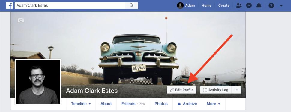 Página inicial de um perfil do Facebook