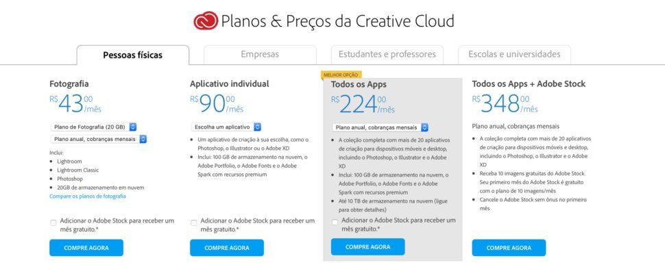 Preços do Adobe Creative Cloud no Brasil