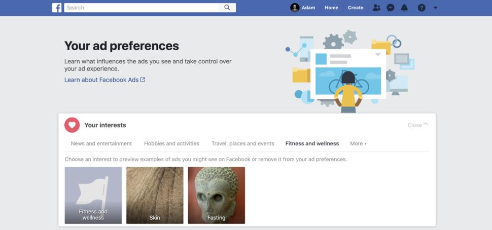 Preferências de propaganda do Facebook