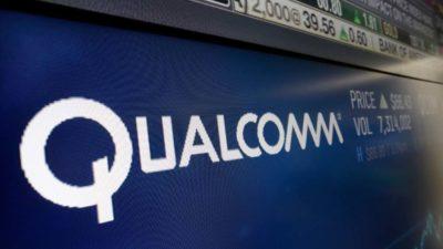 Logo da Qualcomm em tela de computador
