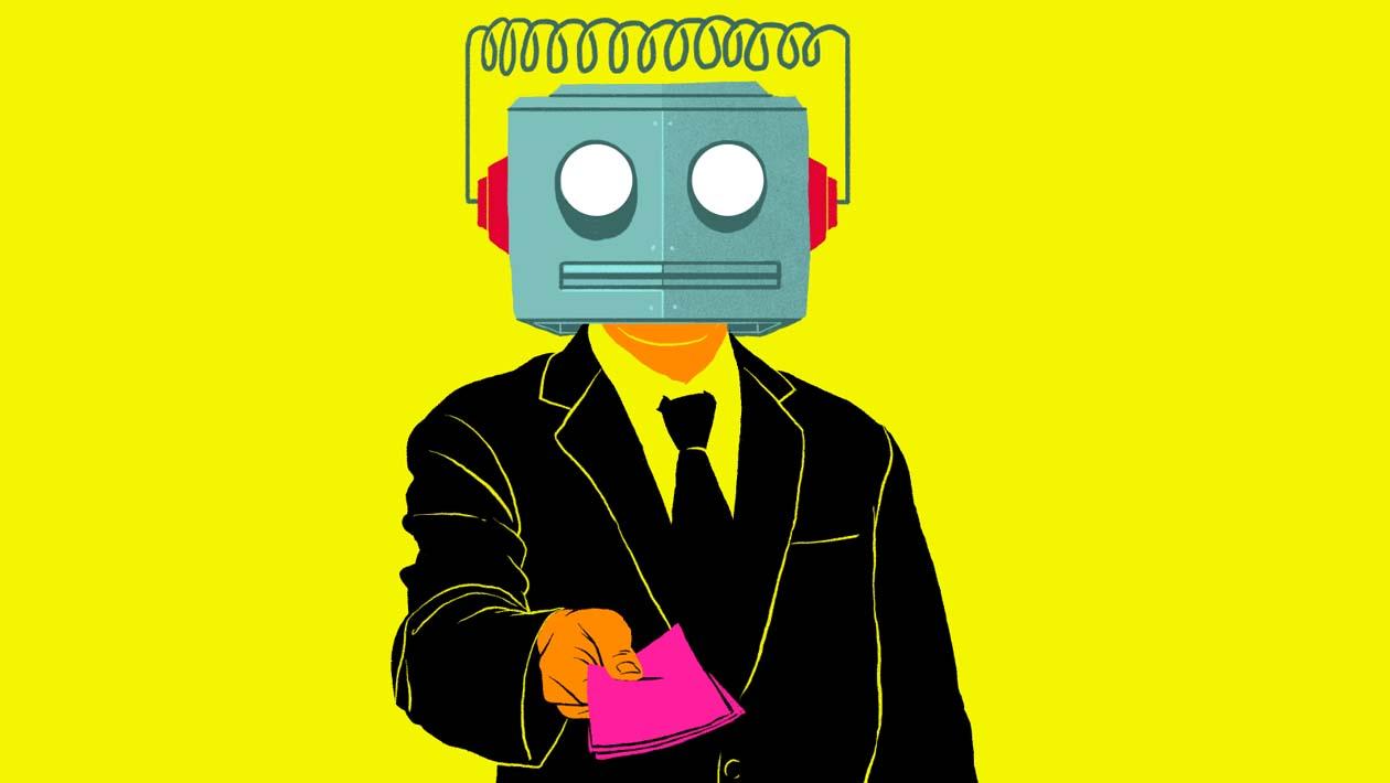 Ilustração executivo engravatado com cabeça de robô