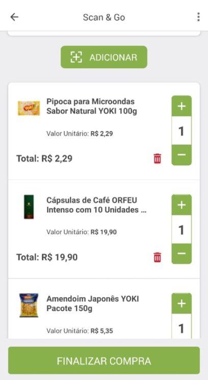 Captura de tela mostrando o app Scan&Go