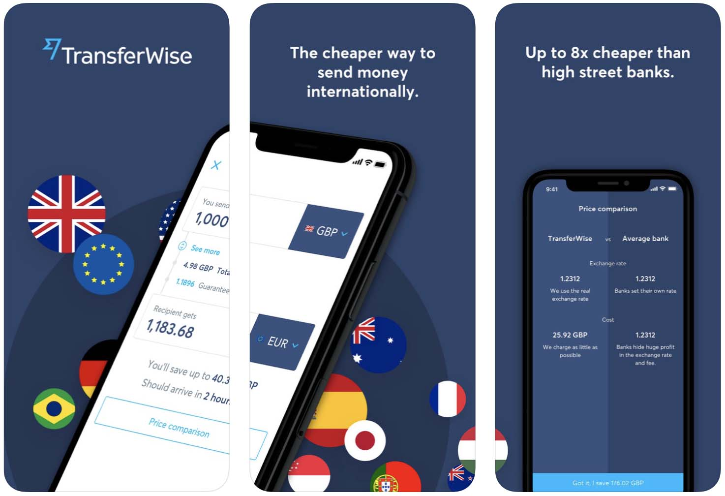 Telas do aplicativo TransferWise