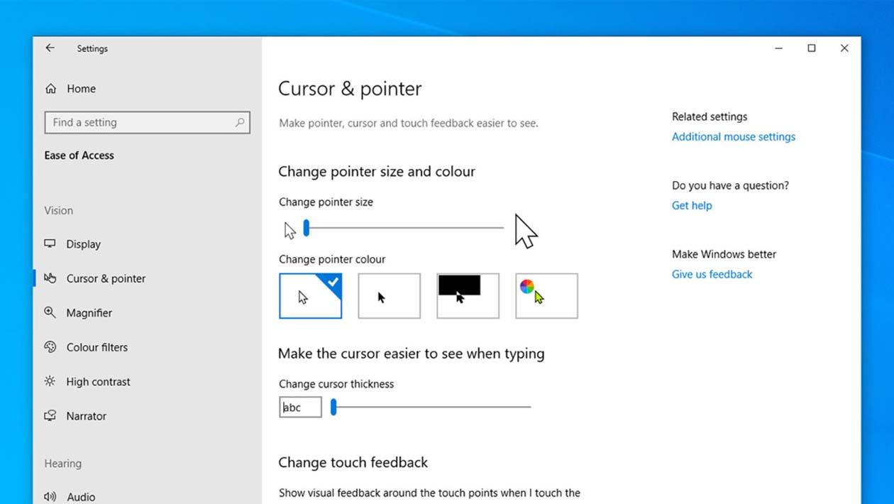 Opções do cursor do mouse no Windows 10