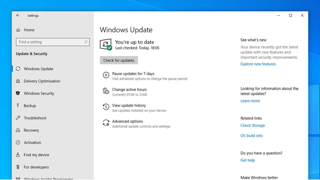 Menu de opções de atualizações do Windows 10