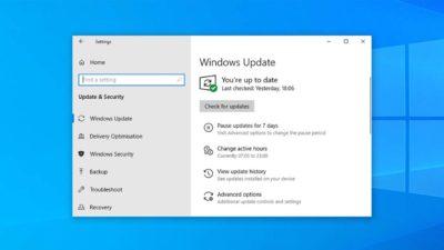 Tela de atualização do Windows 10